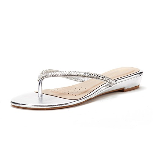DREAM PAIRS Women's Jewel_03 Silver Fashion Rhinestones Design Slides Sandals Size 10 M ()