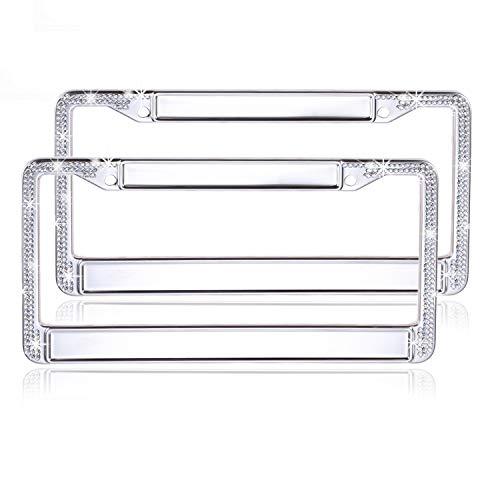 Global_Shopper Luxury AB Clear Bling Crystal License Plate Frame Cute DIY Style Rhinestone Car/Truck/SUV License Plate Holder (2 Frames)