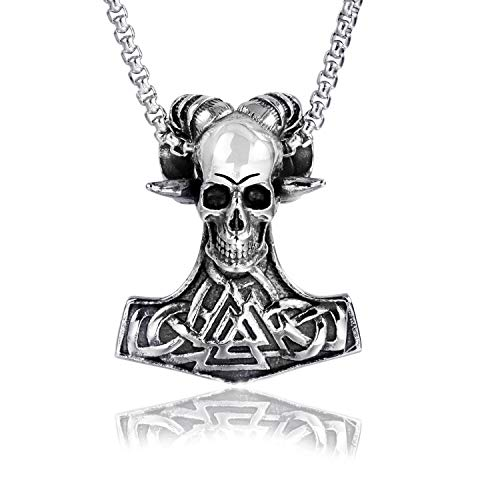 lemongo Men's Stainless Steel Viking Necklace Sheep Head Skull Thor's Hammer and Skull Pendant Necklace,Rolo Cable Wheat Chain Necklace 24