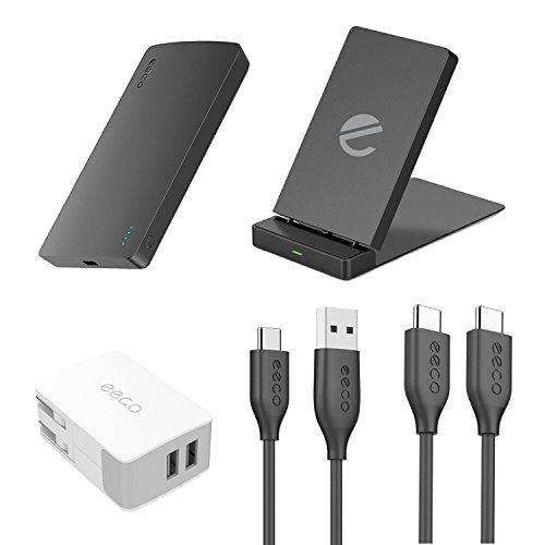 eeco USB-C Charger Kit, Wireless Charger + 2 Port USB Wall Charger + Power Bank 5000mAh + USB C Cables (USB C Devices Chargers kit in Gift Packging)