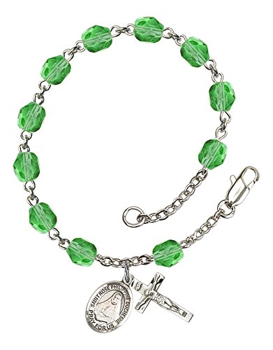(Silver Plate Rosary Bracelet features 6mm Peridot Fire Polished beads. The Crucifix measures 5/8 x 1/4. The charm features a St. Rose Philippine Duchesne medal. )