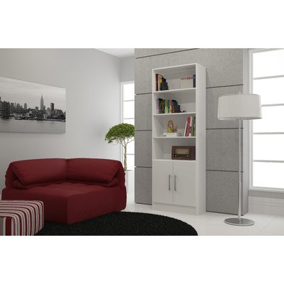 Erica Practical Catarina Accent Cabinet with 4 Exterior Shelves and 1 Cabinet Made w/Solid and Manufactured Wood in White 71.85'' H x 24.41'' W x 12.2'' D - Erica Made Designs