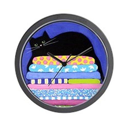 CafePress - Black CAT On Quilts BLUE Art - Unique Decorative 10