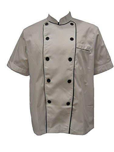 White Unisex Chef Jacket with Black Lining (Short Sleeves) Size: Medium