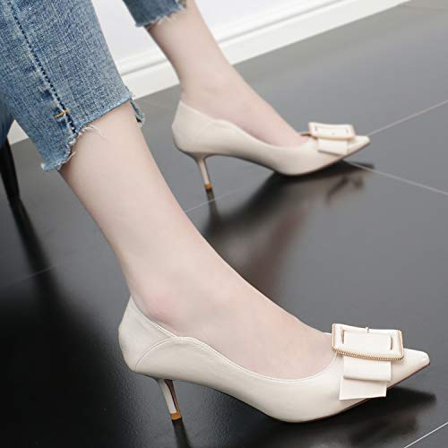 Pointed Temperament Mouth High Shoes Bow Single KPHY Heel Women'S Sexy Tie Black And Shoes Sharp 7Cm Thin Fashionable Shoes Summer 1wxvB6zx