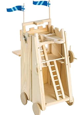 Wooden Medieval Knights Castle Siege Tower Weapon Toy With Working