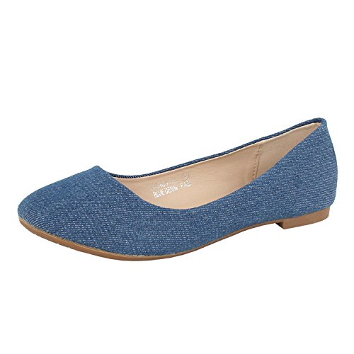 Bella Marie Stacy-12 Women\'s Round Toe Slip On Ballet Flat Shoes (9 B(M) US, Blue Denim)'