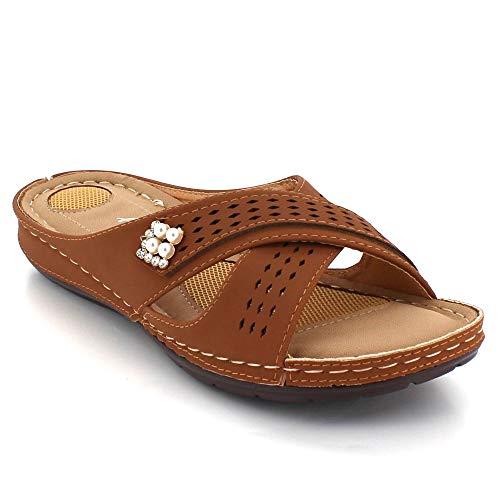 Camello Mujer Día Punta Tamaño Plano Cada Señoras Ligero Comodidad Casual Ponerse Zapatos Talon Abierta Sandalias Verano ZIZfrxq5