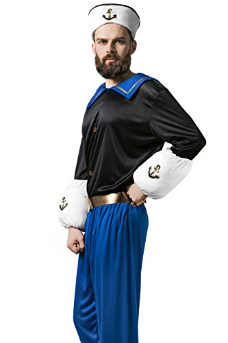 Adult Men Seaman Costume Yacht Sailor Shipmate Skipper Navy Dress Up Role Play (Medium/Large, (Sailor Outfit Men)