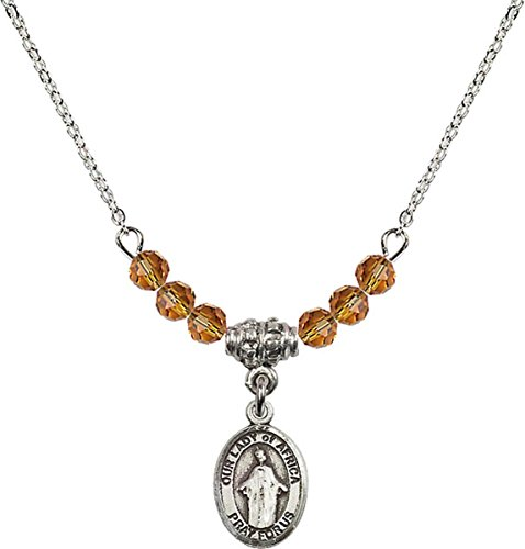 November Birth Month Bead Necklace with Our Lady of Africa Petite Charm, 18 Inch by Birth Month Necklace Collection