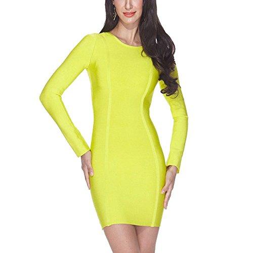 Women Round Bodycon Long Neck Bandage Verde Dress Limón Hlbandage Sleeve Rw4qRU