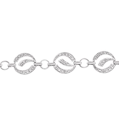 Revoni Bague en or blanc 9carats-0,65carats Diamond Eye Luck Bracelet Lien de 17cm