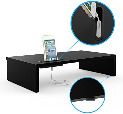 1home Wood Monitor Stand Riser, Desk TV Shelf with Cellphone Holder, Ergonomic Laptop Printer Stand with Cable Management for Laptop, Computer, Notebook, iMac, PC, 21.3 inches, Black 41 2BUvQ3dz9L