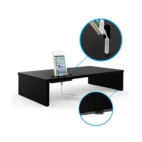 BONTEC Supporto per Monitor in Legno, Supporto per Monitor da Scrivania con Supporto per Smartphone e Gestione dei Cavi… 2 spesavip