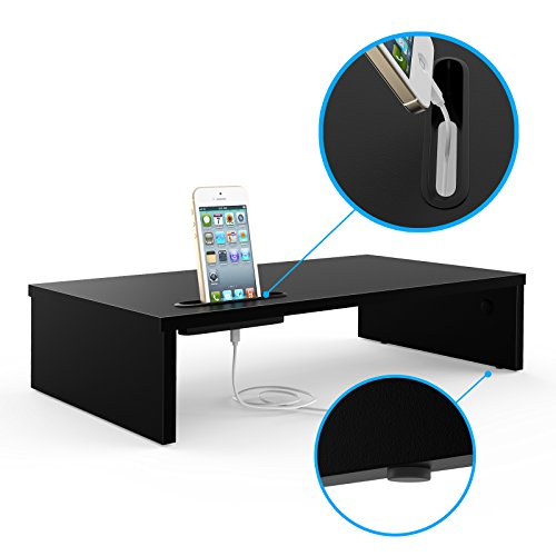 1home Wood Monitor Stand Arm Riser Desk Storage Organizer, Speaker TV Laptop Printer Stand with Cell - http://coolthings.us