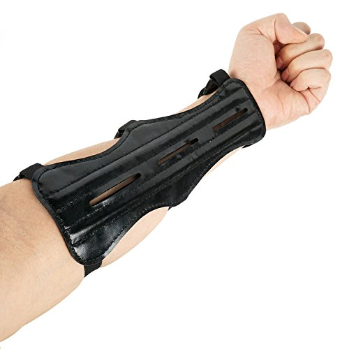 Chuangtong Archery Arm Guard Shooting Protection Safe Guard PU Leather With 3 Adjustable Straps(CT014,Black)