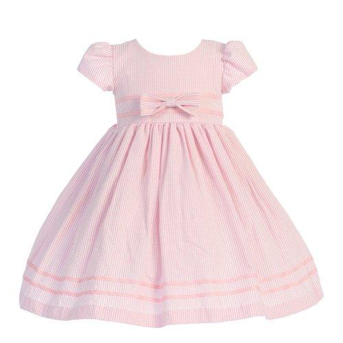 Lito Girls 2T Soft Pink Stripe Short Sleeve Seersucker Easter (Pink Seersucker Dress)
