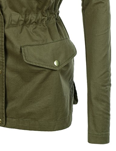 RubyK Womens Utility Military Anorak Jacket with Pockets