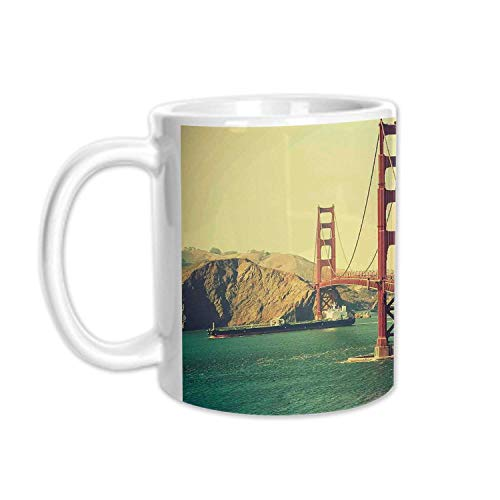Vintage Stylish White Printed Mug,Old Film Featured Golden Gate Bridge Suspension Urban Path Construction Scenery for Living Room Bedroom,3.1