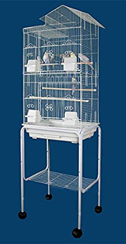 2 Color, Large Tall Canary Parakeet Cockatiel LoveBird Finch Roof Top Bird Cage With Stand by Mcage