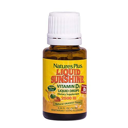 Natures Plus Liquid Sunshine Vitamin D3 Drops - 2500 IU - Delicious Orange Flavor, 10 ML - Bone Health, Heart Health & Immune System Support Supplement - Gluten Free - 365 Servings