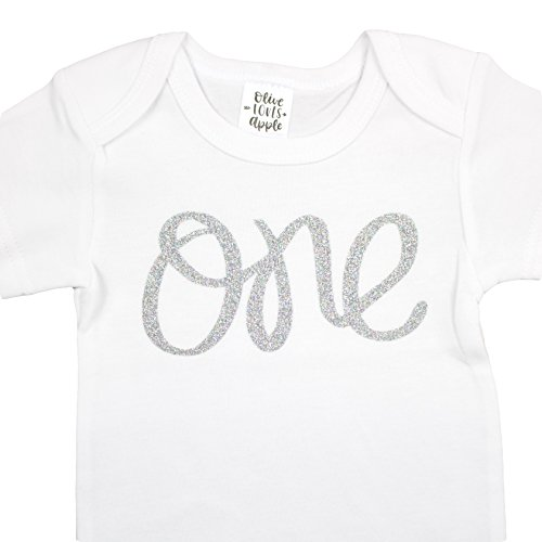 t Birthday Onesie Girl Glitter Onesie Silver 1st Birthday Onesie For Baby Girls, Silver Glitter, 12-18 Long Sleeve ()