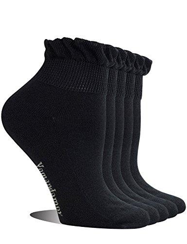 Yomandamor Womens 5 Pairs Non-binding Bamboo Diabetic Ankle Dress/Casual Socks with Seamless Toe
