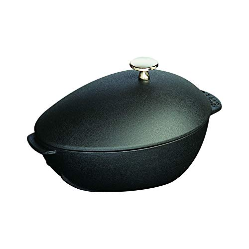 - Staub 1102523 Cast Iron Mussel Pot, 2-quart, Black Matte