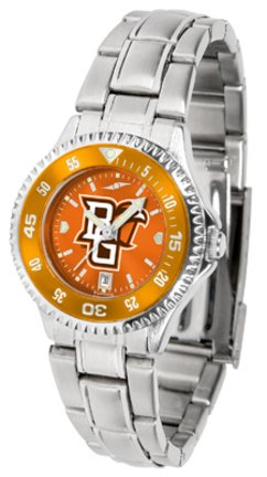 SunTime Bowling Green State Falcons Competitor AnoChrome Ladies Watch with Steel Band and Colored ()