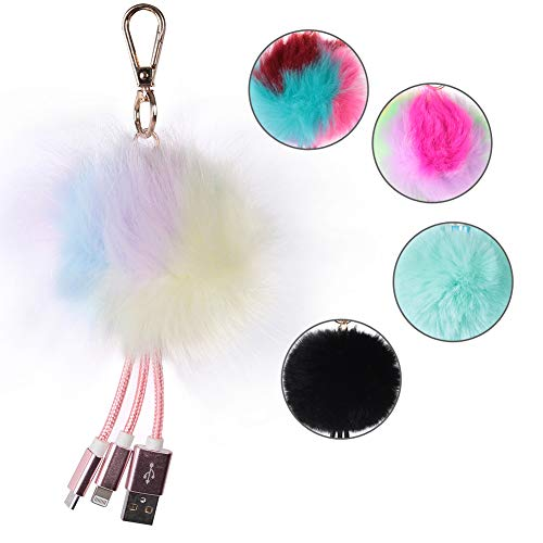 Fur Ball Keychains with USB, SHETOP Fluffy Plush Pom Pom Keychain USB Chargers Bag Purse Charms Cool Pendant Party Gifts for Adults, 1 Pack