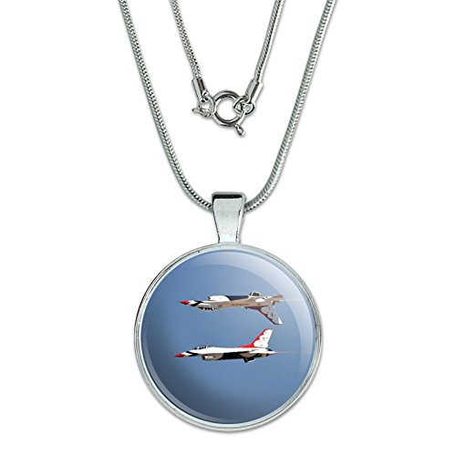 Graphics and More United States Airforce Thunderbirds Inverted Pendant with Sterling Silver Plated Chain - Inverted Pendent