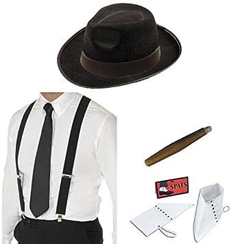 meilleure sélection la vente de chaussures produits de qualité Chapeau gangster noir bretelles, Cravate, Spats et cigare ...