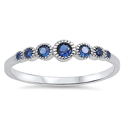 .925 Sterling Silver Seven Round Simulated Diamond & Gemstone AAA CZ Band Ring Size 4-10 COLORS AVAILABLE - Simulated Diamond Gemstone Ring