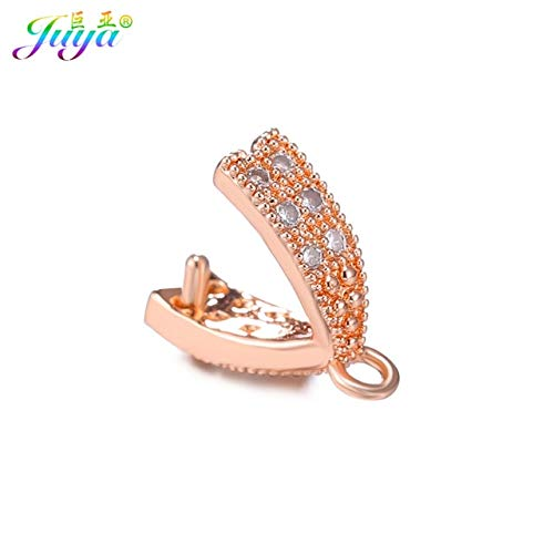 Laliva Handmade Crystals Jewelry Material Clamp Pinch Clip Bail Hooks Accessories for Women Crystal Agate Pearl Earring Necklace Making - (Color: Rose Gold, Size: 12 Pieces Wholesale)