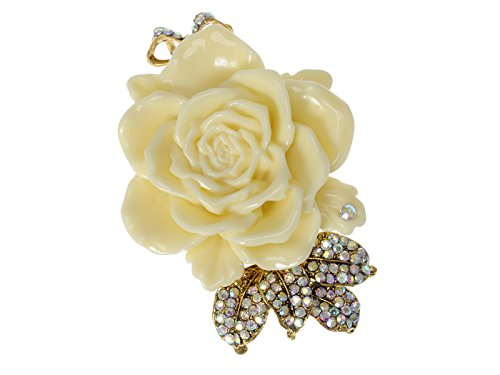 Alilang Enamel Cream Rose Flower Golden Tone Brooch Pin Aurora Borealis Crystal Rhinestone Pendant (Rose Yellow Brooch)