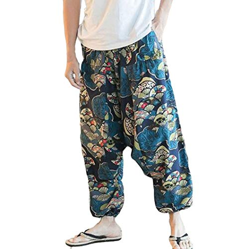 Pants For Women, Clearance Sale! Pervobs Unisex Loose Drop Crotch Floral Yoga Joggers Harem Bloomers Pants Trousers(S, Blue) -