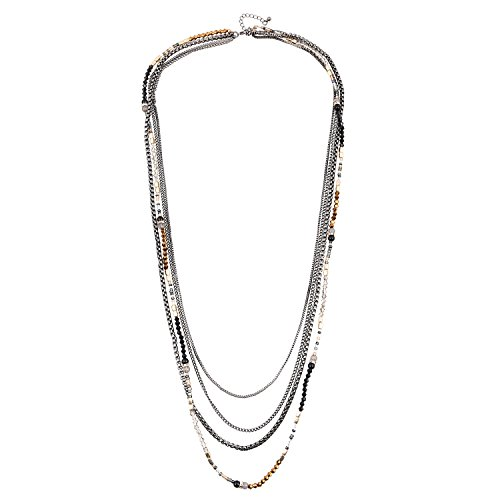 ens Multi Strand Necklace Glass Beaded Sweater Neck Chain Necklace Hematite ()