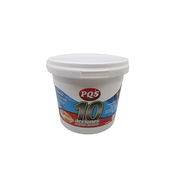 41%2BUzDMPKaL PQS 10 Acciones BICAPA T-250 Desinfectante, Anticalcáreo, Algicida, Clarificante, Floculante, Abrllantador, Bactericida, Choque, Mantenedor de pH y Estabilziador de Cloro.