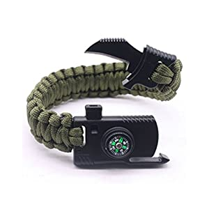 Camping Paracord Survival Bracelet Kit 500 LB - Outdoor Hiking Travelling Hunting Gear - Emergency Tactical Parachute Rope Bracelet - Compass, Flint Stone, Fire Starter, Knife, Whistle - Military