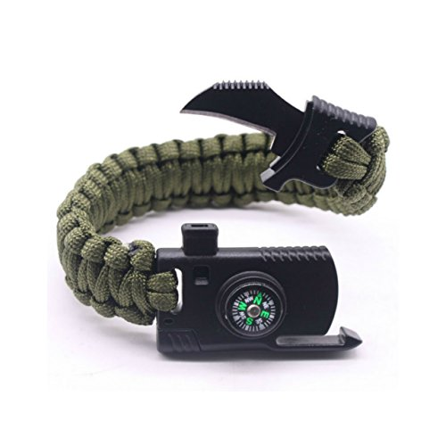 Camping Paracord Survival Bracelet Kit 500 LB - Outdoor Hiking Travelling Hunting Gear - Emergency Tactical Parachute Rope Bracelet - Compass, Fire Starter, Knife, Whistle - Military