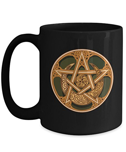 Celebrate Samhain with a Coffee Mug featuring a Pentagram, Celtic Knots, and a center Triple Spiral. -
