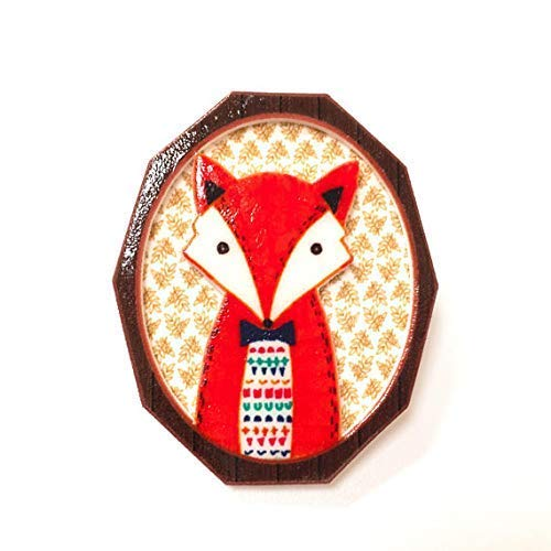 Fox cameo brooch Quirky gift for her Fox lover gift Woodland animal nature lover Foxes lapel pin badge