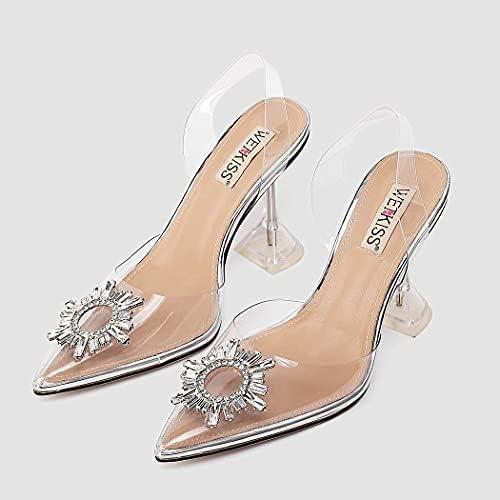 Details about  /Fashion Women Sandals Pointed Toe Transparent Heels Shoes Woman Plus Size 4-9