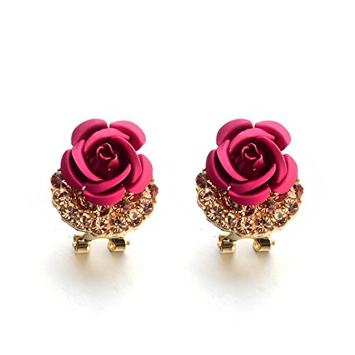 Paymenow Women Girls Cute Rose Earrings Fashion Rhinestone Summer Stud Earrings Hoops Earrings for Party Holiday Engagement (Hot Pink)