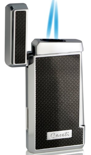 Caseti Tyros Carbon Fiber Double Torch Flame Cigar Lighter