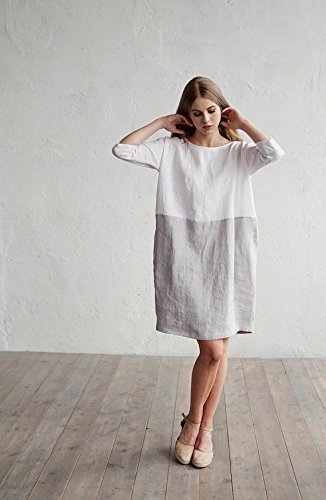 MagicLinen Loose fitted linen dress. Color block dress. White and gray linen tunic. Washed linen clothing for women. Handmade in Europe.
