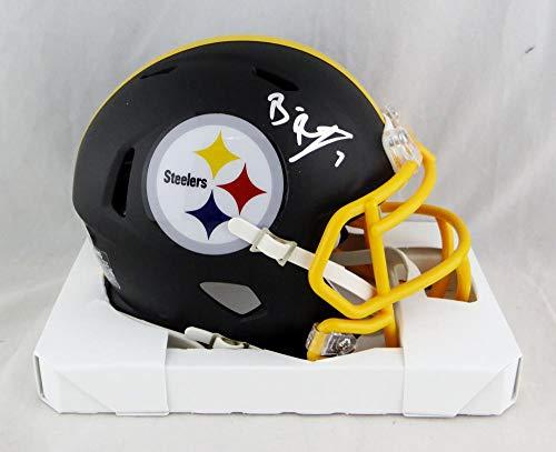 Ben Roethlisberger Autographed Pittsburgh Steelers Flat Black Mini Helmet- JSA W Auth Silver