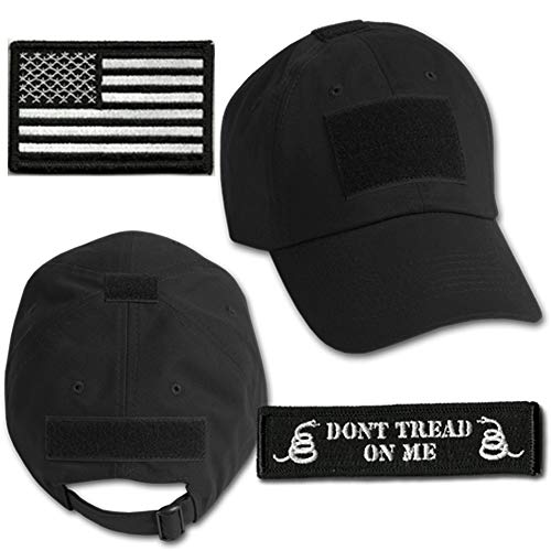 Gadsden and Culpeper Operator Cap Bundle - w USA/Dont Tread Patches (Black Cap)