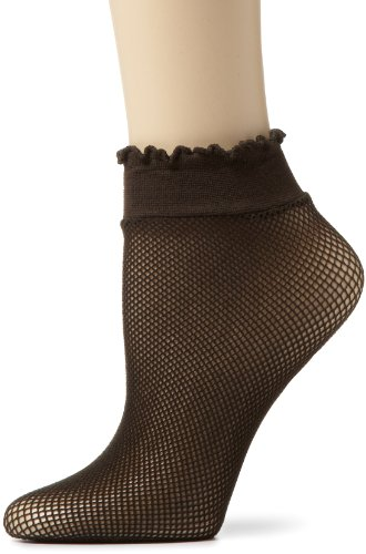 Capezio New York Women's Fishnet Crew Anklet, Java, One Size