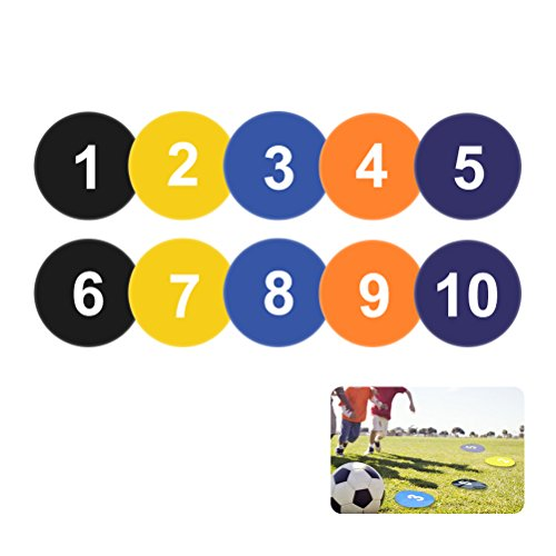 - Vankcp Numbered Spot Markers, 9 inch Flat Basketball Court Markers Yard Markers for Basketball Soccer Drills and Training, Speed Agility Training Starter(Pack of 10,Number 1-10)